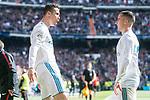 Real Madrid Cristiano Ronaldo and Lucas Vazquez celebrating a goal during La Liga match between Real Madrid and Atletico de Madrid at Santiago Bernabeu Stadium in Madrid, Spain. April 08, 2018. (ALTERPHOTOS/Borja B.Hojas)