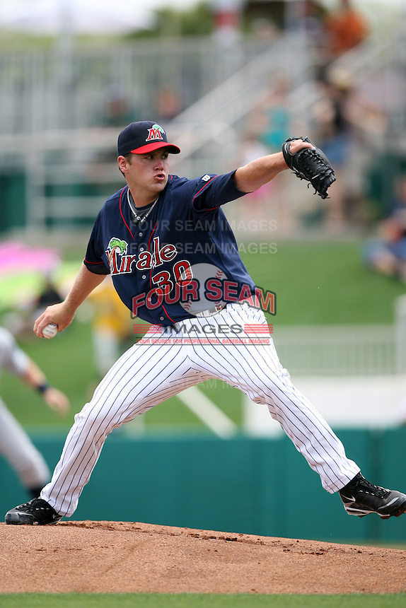 April 13, 2009:  Starting Pitcher Mike McCardell of the Fort Myers Miracle, Florida State League Class-A affiliate of the Minnesota Twins, during a game at Hammond Stadium in Fort Myers, FL.  Photo by:  Mike Janes/Four Seam Images