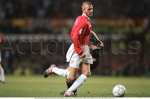 DAVID BECKHAM, MANCHESTER UNITED 2 Real Madrid 3, Quarter Final, UEFA Champions League, 2000, 000419. Photo: Jean-Marie Hervio/Action Plus...2000.soccer.european.football.english premiership club clubs.association.premier league