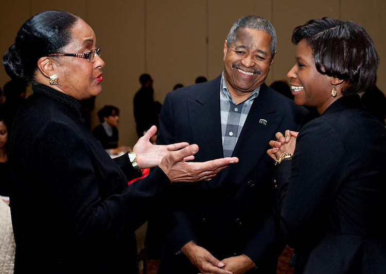 Ohio University President Roderick J. McDavis, center, and wife Deborah, left, mingle at the All Black Affair at Baker University Center Ballroom at Ohio University on Friday, January 29, 2016. © Ohio University / Photo by Sonja Y. Foster