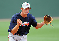 May 8, 2008: Infielder Jon Gilmore (43) of the Rome Braves, Class A affiliate of the Atlanta Braves, prior to a game against the Greenville Drive at Fluor Field at the West End in Greenville, S.C.   Photo by:  Tom Priddy/Four Seam Images