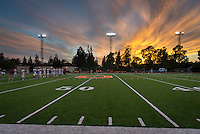Sunset, Occidental College football field, Patterson Field in Kemp Stadium, October 6, 2012. (Photo by Marc Campos, Occidental College Photographer)