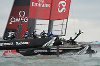 Emirates Team New Zealand in action during day two of the Louis Vuitton America's Cup World Series racing, Portsmouth, United Kingdom. (Photo by Rob Munro/Stewart Communications)