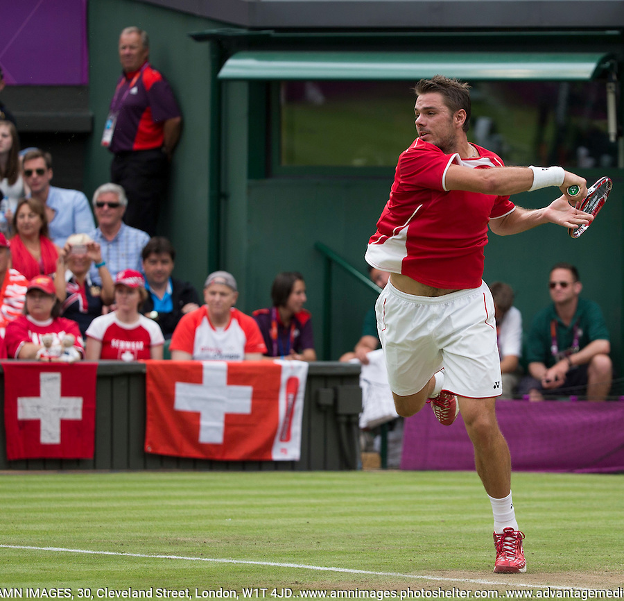 Stanlinas Wawrinka - Switzerland..Tennis - OLympic Games -Olympic Tennis -  London 2012 -  Wimbledon - AELTC - The All England Club - London - Friday 29th June  2012. .© AMN Images, 30, Cleveland Street, London, W1T 4JD.Tel - +44 20 7907 6387.mfrey@advantagemedianet.com.www.amnimages.photoshelter.com.www.advantagemedianet.com.www.tennishead.net