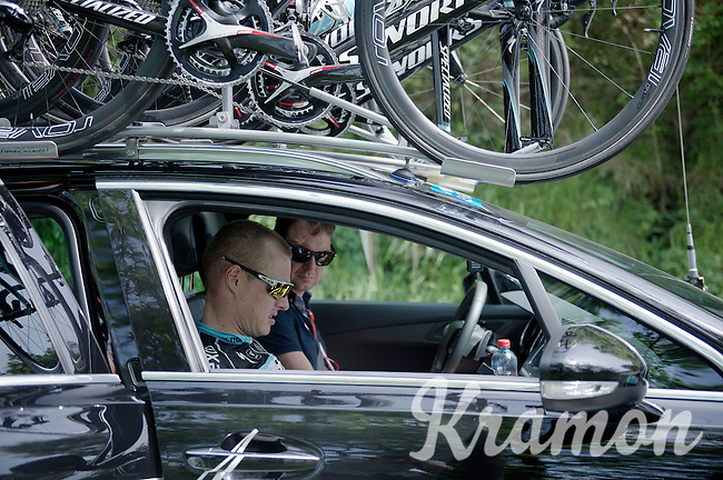 Gianni Meersman (BEL/Etixx-Quickstep) is forced to abandon the race as his crash of the day before proved to be too much in this hard hilly stage<br /> <br /> 2015 Giro<br /> st4: Chiavari - La Spezia (150km)