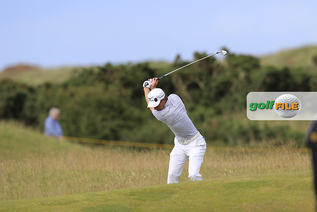 Luke Donald (ENG) plays his 2nd shot on the 14th hole during Sunday's Round 3 of the 144th Open Championship, St Andrews Old Course, St Andrews, Fife, Scotland. 19/07/2015.<br /> Picture Eoin Clarke, www.golffile.ie