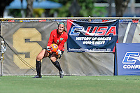 8 November 2015:  Marshall Goalkeeper Lizzie Kish (1) records a save in the first half as the University of North Texas Mean Green defeated the Marshall University Thundering Herd, 1-0, in the Conference USA championship game at University Park Stadium in Miami, Florida.