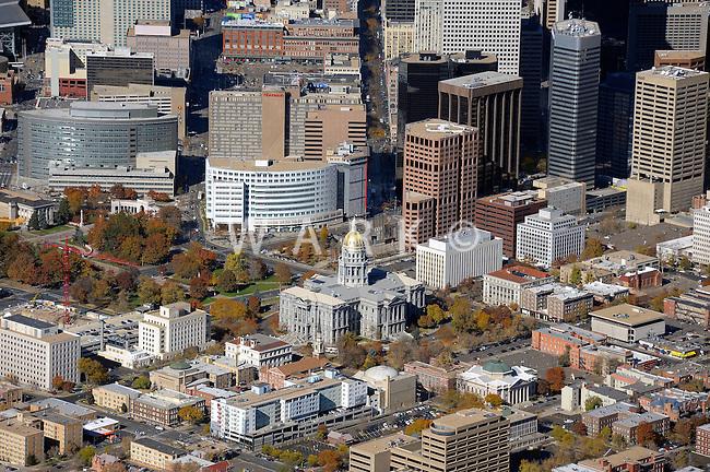 Aerial Denver, Colorado. State Capital building.