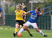 20190807 - DENDERLEEUW, BELGIUM : LSK's Mille Dalen (left) pictured in a fight for the ball with Linfield's Abbie Magee (right) during the female soccer game between the Norwegian LSK Kvinner Fotballklubb Ladies and the Northern Irish Linfield ladies FC , the first game for both teams in the Uefa Womens Champions League Qualifying round in group 8 , Wednesday 7 th August 2019 at the Van Roy Stadium in Denderleeuw  , Belgium  .  PHOTO SPORTPIX.BE for NTB  | DAVID CATRY
