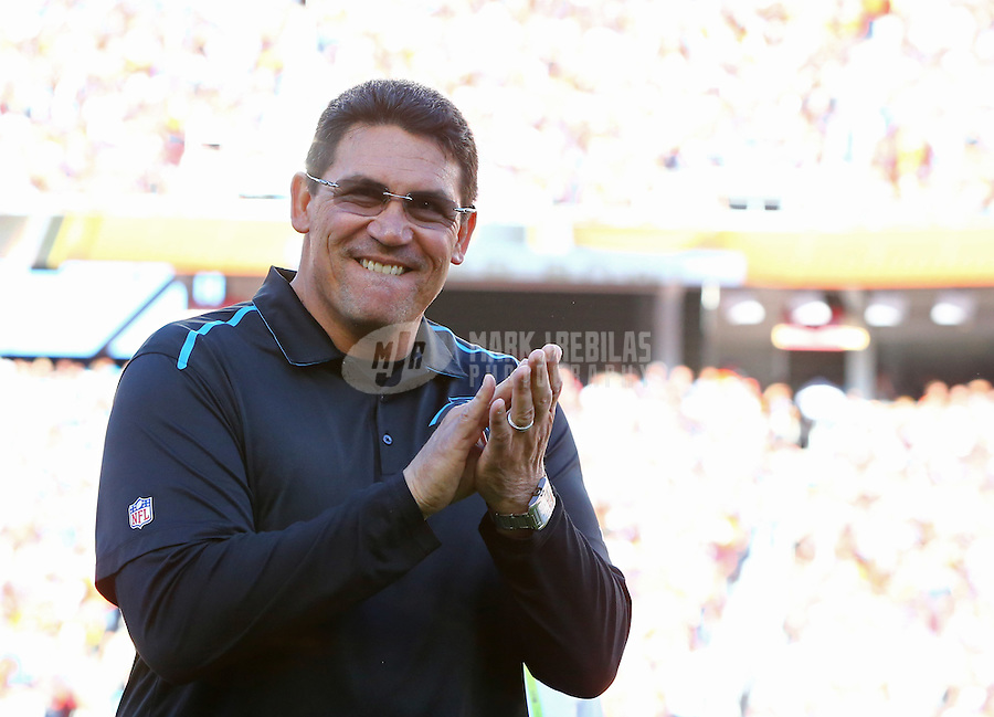 Feb 7, 2016; Santa Clara, CA, USA; Carolina Panthers head coach Ron Rivera against the Denver Broncos during Super Bowl 50 at Levi's Stadium. Mandatory Credit: Mark J. Rebilas-USA TODAY Sports