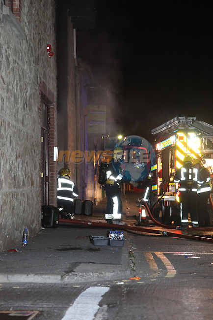 Mill Warf Appartments carpark fire. Four cars were burnt out in the fire, Two Fire appliances from Drogheda and one From Dunleer attended the scene. All occupants of the building had to be escorted from the building...Photo: Fran Caffrey/www.newsfile.ie..