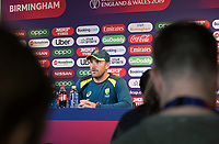 Aaron Finch (Australia) takes questions from the media during a Press Conference at Edgbaston Stadium on 10th July 2019
