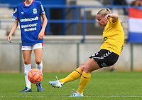 20190807 - DENDERLEEUW, BELGIUM : LSK's  Therese Asland pictured shooting towards goal and scoring the 2-0 during the female soccer game between the Norwegian LSK Kvinner Fotballklubb Ladies and the Northern Irish Linfield ladies FC , the first game for both teams in the Uefa Womens Champions League Qualifying round in group 8 , Wednesday 7 th August 2019 at the Van Roy Stadium in Denderleeuw  , Belgium  .  PHOTO SPORTPIX.BE for NTB  | DAVID CATRY