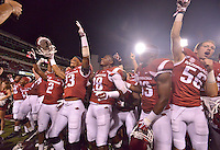 STAFF PHOTO BEN GOFF  @NWABenGoff -- 09/20/14 <br /> Arkansas player celebrate after defeating Northern Illinois in Reynolds Razorback Stadium in Fayetteville on Saturday September 20, 2014.