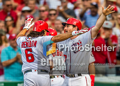 29 June 2017: Washington Nationals second baseman Daniel Murphy greets Anthony Rendon after Rendon hits a two run homer in the 7th inning against the Chicago Cubs at Nationals Park in Washington, DC. The Cubs rallied against the Nationals to win 5-4 and split their 4-game series. Mandatory Credit: Ed Wolfstein Photo *** RAW (NEF) Image File Available ***