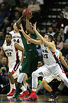 North Dakota State's Carlin Dupree (13) looks to pass while being guarded by  Gonzaga's Kyle Wiltjer (33)  during the 2015 NCAA Division I Men's Basketball Championship's March 20, 2015 at the Key Arena in Seattle, Washington. ©2015. Jim Bryant Photo. ALL RIGHTS RESERVED.