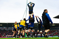 Bath Rugby forwards practise their lineout during the pre-match warm-up. Heineken Champions Cup match, between Stade Toulousain and Bath Rugby on January 20, 2019 at the Stade Ernest Wallon in Toulouse, France. Photo by: Patrick Khachfe / Onside Images