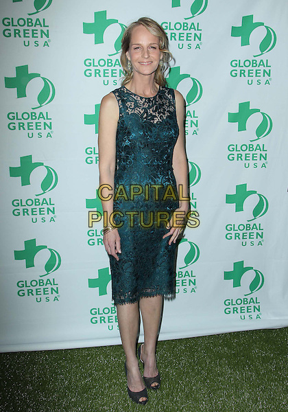 Helen Hunt.10th Annual Global Green USA Pre-Oscar Party held at Avalon, Hollywood, California, USA..20th February 2013.full length green lace sleeveless dress peep toe shoes black grey gray .CAP/ADM/KB.©Kevan Brooks/AdMedia/Capital Pictures.