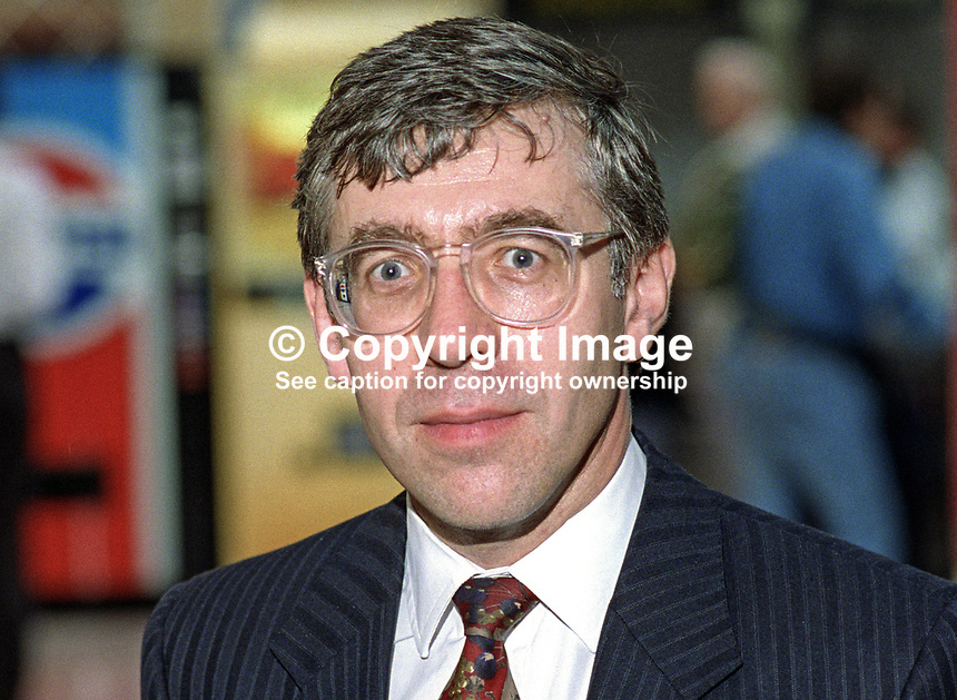 Jack Straw, MP, Labour Party, politician, UK, 19921001JS1.<br /> <br /> Copyright Image from Victor Patterson, 54 Dorchester Park, Belfast, UK, BT9 6RJ<br /> <br /> t1: +44 28 9066 1296 (from Rep of Ireland 048 9066 1296)<br /> t2: +44 28 9002 2446 (from Rep of Ireland 048 9002 2446)<br /> m: +44 7802 353836<br /> <br /> victorpatterson@me.com<br /> www.victorpatterson.com<br /> <br /> Please see my Terms and Conditions of Use at victorpatterson.com . It is IMPORTANT that you familiarise yourself with them.<br /> <br /> Images used on the Internet incur an additional cost and must be visibly watermarked i.e. &copy;Victor Patterson within the body of the image and copyright metadata must not be deleted. Images used on the Internet have a size restriction of 4kbs and are chargeable at rates available at victorpatterson.com.<br /> <br /> This image is only available for the use of the download recipient i.e. television station, newspaper, magazine, book publisher, etc, and must not be passed on to any third party. It is also downloaded on condition that each and every usage is notified within 7 days to victorpatterson@me.com<br /> <br /> The right of Victor Patterson to be identified as the author is asserted in accordance with The Copyright Designs And Patents Act (1988). All moral rights are asserted.