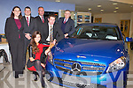 A CLASS: Miss Universe Ireland 2011 Aoife Hannon and Kerry footballer Eoin Brosnan launching the all new Mercedes A Class at McElligott's dealership, Oakpark, Tralee on Friday front l-r: Aoife Hannon. Back l-r: Aishling Carroll (sales executive), John Riordan (sales executive), Donal Lynch (sales manager), Eoin Brosnan and Patrick McElligott (managing director).