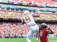 Landover, MD - September 1, 2018: Texas Longhorns wide receiver Collin Johnson (9) catches a touchdown over Maryland Terrapins defensive back Marcus Lewis (8) during game between Maryland and No. 23 ranked Texas at FedEx Field in Landover, MD. The Terrapins upset the Longhorns in back to back season openers with a 34-29 win. (Photo by Phillip Peters/Media Images International)