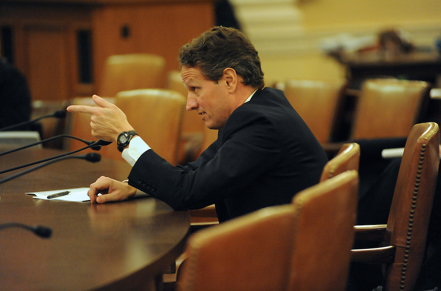 Washington, D.C.-Timothy F. Geithner, secretary of the Treasury, testifies before the House Ways and Means Committee about President Obama's proposed fiscal 2011 budget on Feb. 2, 2009. (Amanda Lucidon)