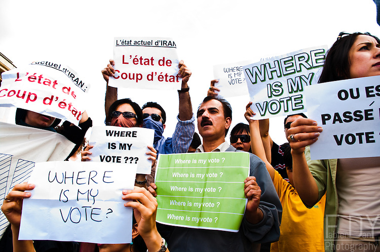 "Images from one of the protests held against the 2009 iranian presidential elections results. This protest was held at ""Trocadero"" in Paris (France) on june the 14th 2009."