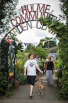 © Joel Goodman - 07973 332324 . 27 July 2013 . Hulme Community Garden Centre , Old Birley Street , Hulme , Manchester M15 , UK . Entrance GV . Hulme is Where the Art Is festival . Photo credit : Joel Goodman