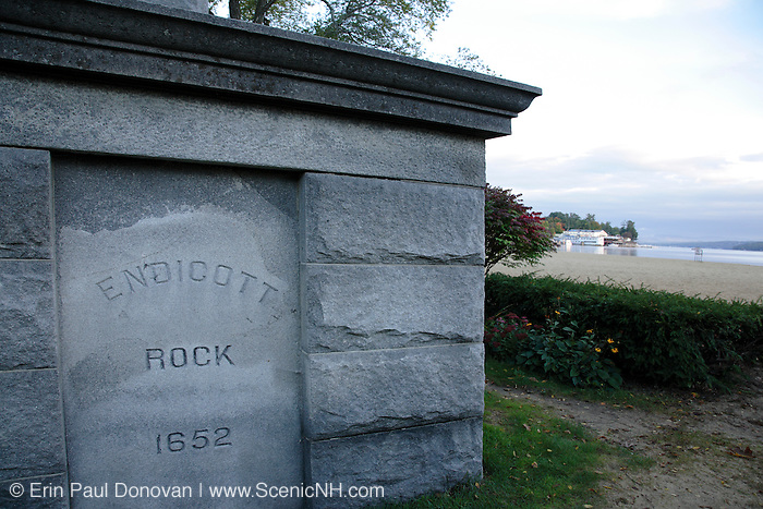 Endicott Rock at Weirs Beach on Lake Winnipesaukee in New Hampshire USA during the autumn months.