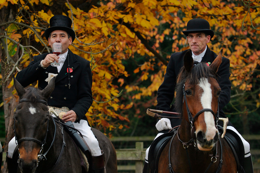 Leicestershire, England, 06/11/2003..The Quorn Hunt fox-hunting in what may be the last legal hunting season in the UK, as Parliament moves to ban hunting with dogs..Hunters and followers enjoy a 'stirrup cup': the traditional drink before the start of the hunt.
