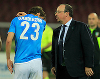 Rafael Benitez  chats with Manolo Gabbianini  during the Italian Serie A soccer match between   SSC Napoli and UC Sampdoria at San Paolo  Stadium in Naples ,April 26 , 2015