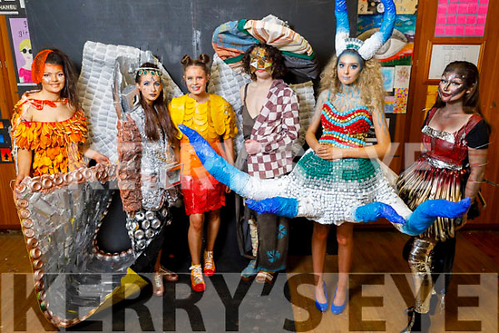 Presentation Castleisland students Kate O'Connor, Leah Pigeon, Hillary O'Connor, Ian O'Neill (St Pats Secondary School), Ava Regan, April O'Connor display their Junk Kouture creations in the Presentation Castleisland school on Friday.