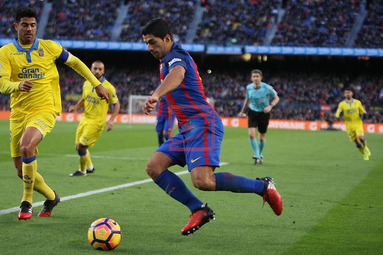 League Santander 2016/2017. Game: 18.<br /> FC Barcelona vs UD Las Palmas: 5-0.<br /> Aythami vs Luis Suarez.