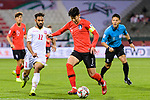 Son Heungmin of South Korea (C) fights for the ball with Ali Jaafar Madan of Bahrain (L) during the AFC Asian Cup UAE 2019 Round of 16 match between South Korea (KOR) and Bahrain (BHR) at Rashid Stadium on 22 January 2019 in Dubai, United Arab Emirates. Photo by Marcio Rodrigo Machado / Power Sport Images