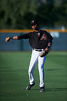 AZL D-backs first baseman Rafael Jimenez (32) warms up before an Arizona League game against the AZL Angels on July 20, 2019 at Salt River Fields at Talking Stick in Scottsdale, Arizona. The AZL Angels defeated the AZL D-backs 11-4. (Zachary Lucy/Four Seam Images)