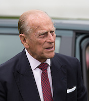 Prince Philip, Duke of Edinburgh arrives during the Cartier Queens Cup Final match between King Power Foxes and Dubai Polo Team at the Guards Polo Club, Smith's Lawn, Windsor, England on 14 June 2015. Photo by Andy Rowland.