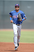 Texas Rangers outfielder Chris Garcia (83) during an Instructional League game against the Cincinnati Reds on October 7, 2013 at Goodyear Training Complex in Goodyear, Arizona.  (Mike Janes/Four Seam Images)