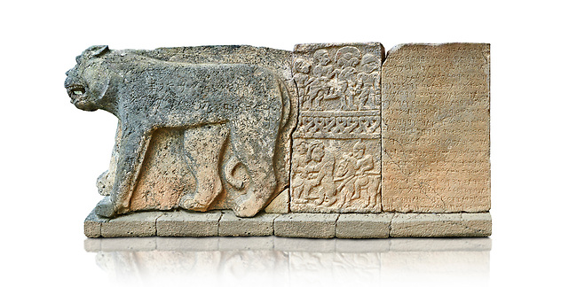 Pictures & images of the North Gate Hittite sculpture stele depicting Hittite Gods. 8th century BC. Karatepe Aslantas Open-Air Museum (Karatepe-Aslantaş Açık Hava Müzesi), Osmaniye Province, Turkey. Against white background