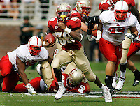 TALLAHASSEE, FL 10/31/09-FSU-NCST FB09 CH32-Florida State's Jermaine Thomas busts through the N.C. State defense on a 54-yard touchdown run during first half action Saturday at Doak Campbell Stadium in Tallahassee. .COLIN HACKLEY PHOTO