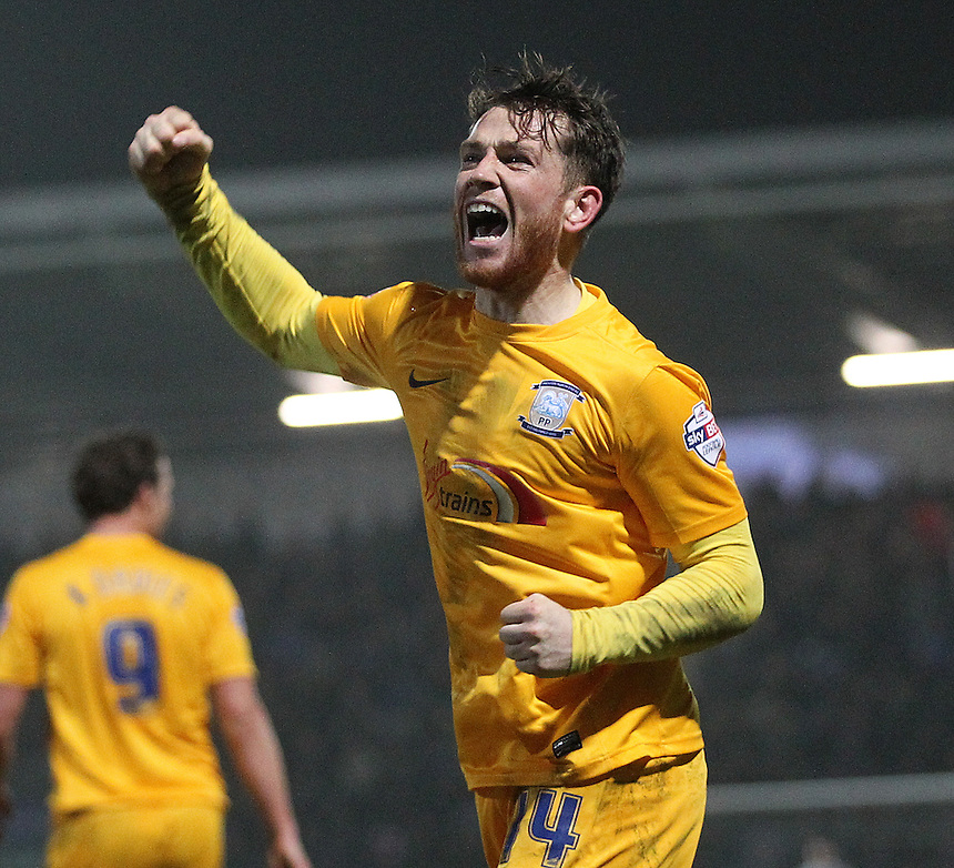 Preston North End's Joe Garner celebrates scoring his sides second goal <br /> <br /> Photographer Mick Walker/CameraSport<br /> <br /> Football - The Football League Sky Bet League One - Tuesday 10th February 2015 - Chesterfield v Preston North End - Proact Stadium - Chesterfield<br /> <br /> &copy; CameraSport - 43 Linden Ave. Countesthorpe. Leicester. England. LE8 5PG - Tel: +44 (0) 116 277 4147 - admin@camerasport.com - www.camerasport.com
