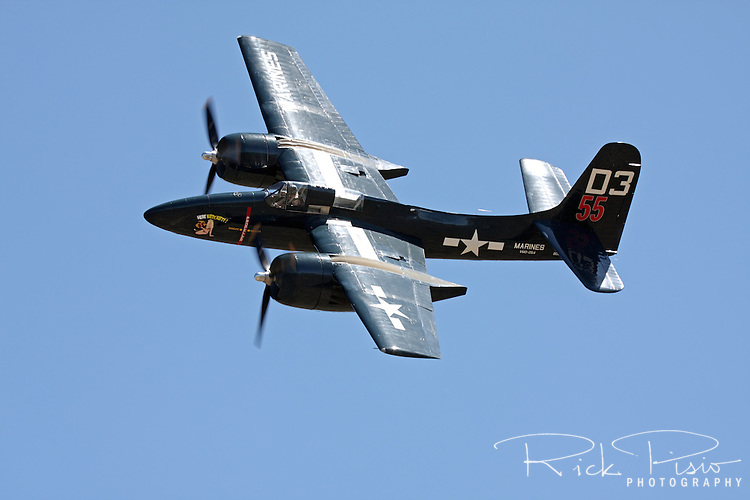 Grumman F7F Tigercat in flight during the 2011 Pylon Racing School. There were 364 of the twin engined fighters built during World War II, and shortly thereafter, of which there are six that are still considered airworthy. Originally Grumman had been contracted to build 500 of the aircraft for use by the US Marine Corps to be used as close air support of the landing operations that were planned in the Pacific.