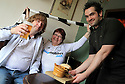 11/05/14<br /> <br /> Head Chef Chris Parry (28) serves Nick (52) and Vivien (52) Perkins a 'Dave McHaggis' burger and a pre-match beer at the The Exeter Arms, Exeter Street, running a match day menu.<br /> <br /> All Rights Reserved - F Stop Press.  www.fstoppress.com. Tel: +44 (0)1335 300098