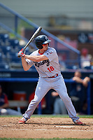 Reading Fightin Phils catcher Austin Bossart (18) at bat during the second game of a doubleheader against the Portland Sea Dogs on May 15, 2018 at FirstEnergy Stadium in Reading, Pennsylvania.  Reading defeated Portland 9-8.  (Mike Janes/Four Seam Images)