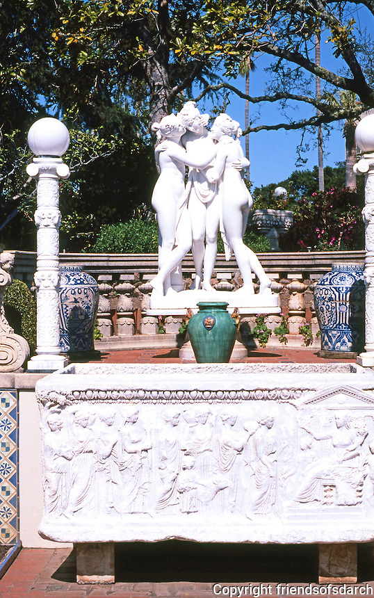 Hearst Castle: Sculpture--Modern Three Graces; Ancient Esophasos. Photo '86.