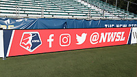Cary, North Carolina  - Saturday August 05, 2017: NWSL signboard prior to a regular season National Women's Soccer League (NWSL) match between the North Carolina Courage and the Seattle Reign FC at Sahlen's Stadium at WakeMed Soccer Park. The Courage won the game 1-0.