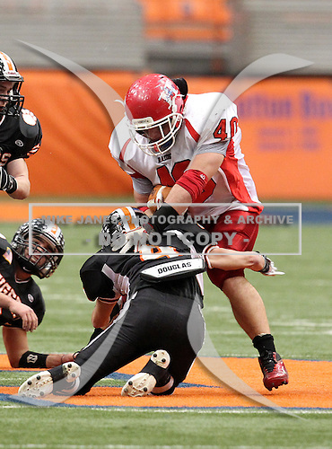 Hornell Red Raiders varsity football against the Croton-Harmon Tigers during the NYSPHSAA Class-B State Championship game at the Carrier Dome on November 27, 2011 in Syracuse, New York.  Hornell defeated Croton 22-6.  (Photo By Mike Janes Photography)