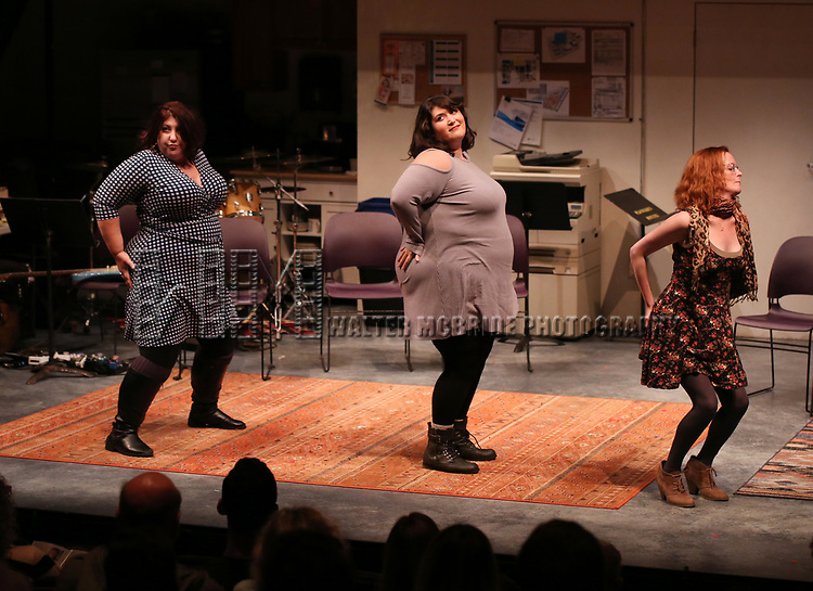 """Ashlie Atkinson, Nicole Spiezio and Anna O'Donoghue """"Three Fat Sisters"""" during the 2018 Presentation of New Works by the DGF Fellows on October 15, 2018 at the Playwrights Horizons Theatre in New York City."""