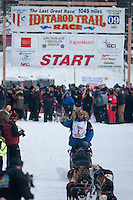 Musher # 2 Aaron Peck at the Restart of the 2009 Iditarod in Willow Alaska