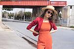 Sunday Mail Fashion with Mirella, Polka dots on location at Pt Adelaide, model Lily Maria.  Photo: Nick Clayton