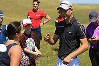 Guido Migliozzi (ITA) finds out his ball landed in this ladies bag on the 3rd during the Pro-Am of the Irish Open at LaHinch Golf Club, LaHinch, Co. Clare on Wednesday 3rd July 2019.<br /> Picture:  Thos Caffrey / Golffile<br /> <br /> All photos usage must carry mandatory copyright credit (© Golffile | Thos Caffrey)